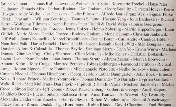 Künstlerliste mit nur einer bzw. zwei Biennalebeteiligungen